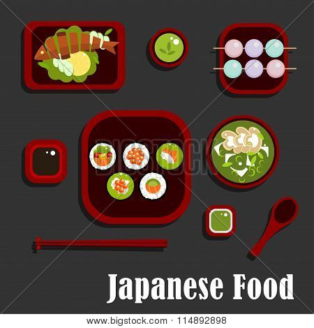 Japanese seafood dishes and dessert