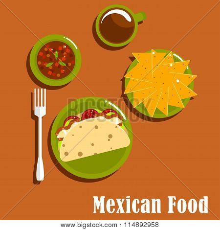 Mexican lunch with tacos and nachos