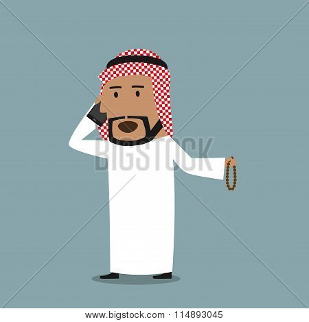 Arabian businessman talking on the mobile phone