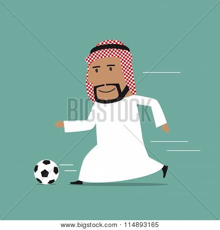 Arabian businessman running with soccer ball