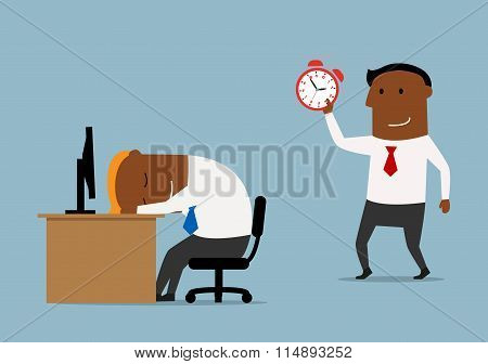 Businessman with alarm clock doing wake up