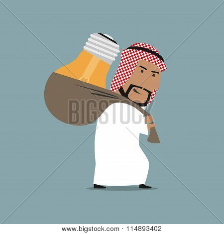 Tired arab businessman carrying a heavy idea