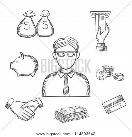 Banker, money and finance sketch icons