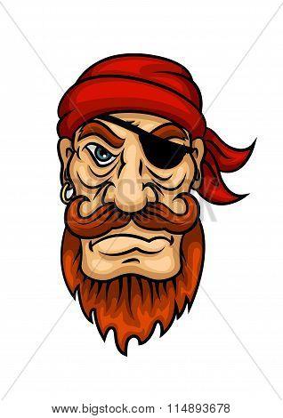 Portrait of cartoon redhead pirate sailor