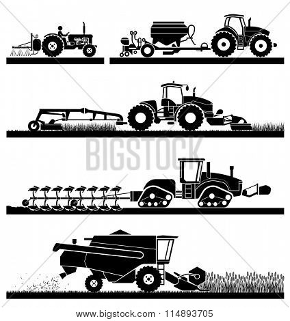 Set of different types of agricultural vehicles and machines, harvesters, combines and excavators. Icon set of working machines.