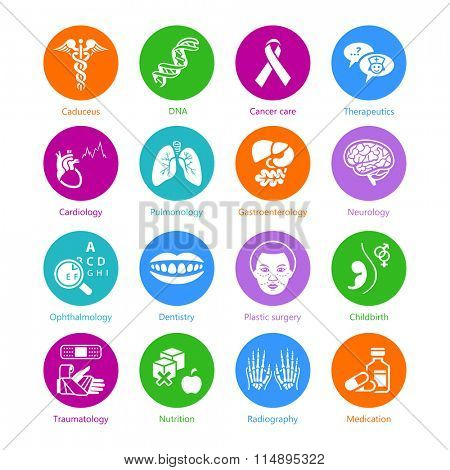 Medical symbols, specialties and human organs color icons