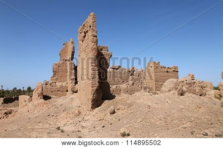 Ruins of clay structures in the south of Morocco