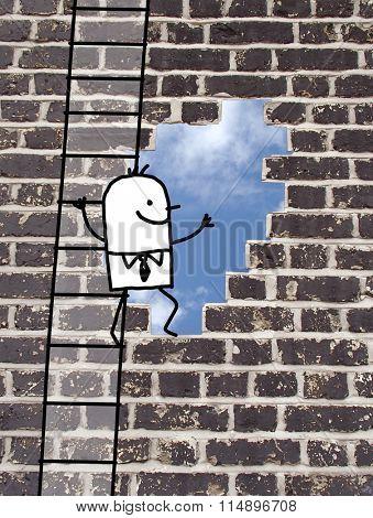 cartoon man climbing to an outlet in a wall
