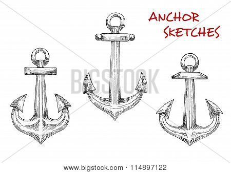 Old marine anchors hand drawn sketches