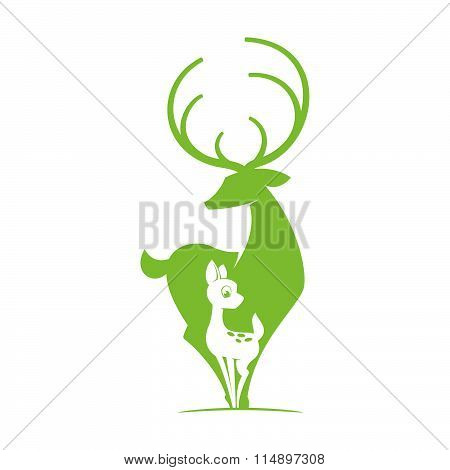 Deer With Bambi Silhouette Logo. Vector Object.