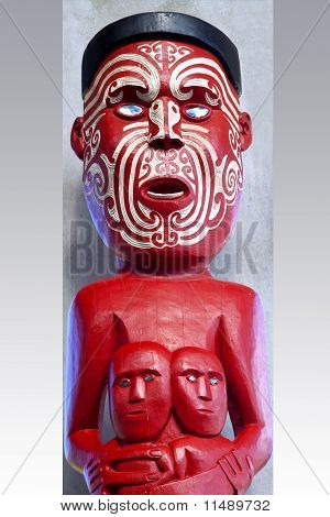 Carved and Tattooed Maori Statue Painted Traditional Red