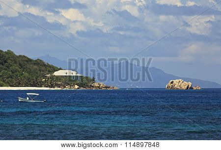 Villa on shore of Cousin Island in Indian Ocean. Seychelles.