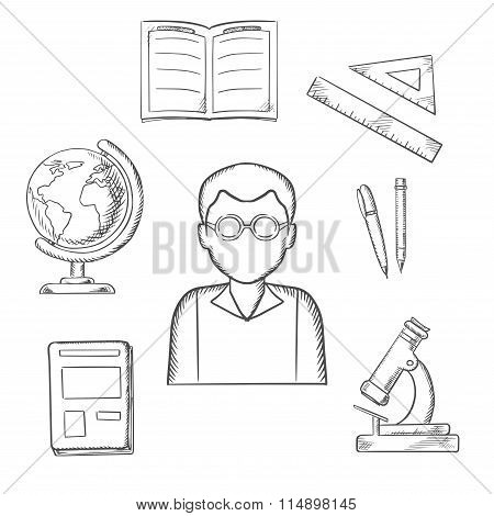 Education sketched design with school items