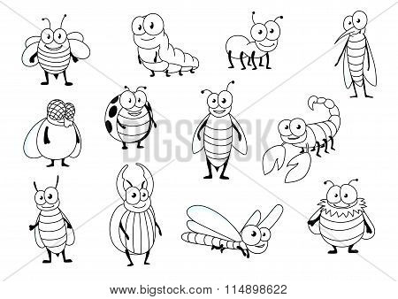 Funny cartoon colorless insect characters