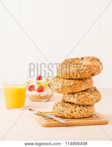 Muesli Bagels For Breakfast
