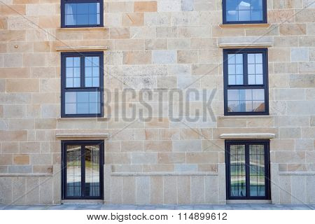 Nice windows of a majestic hotel in northwestern Spain