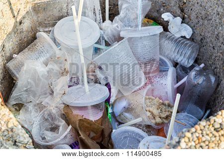Environmental Unfriendly Non-biodegradable Pvc Containers And Straws In Rubbish Bin