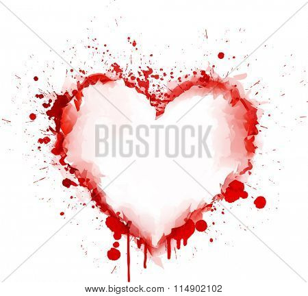 Love abstract card with painted red grunge heart. Vector paper illustration.