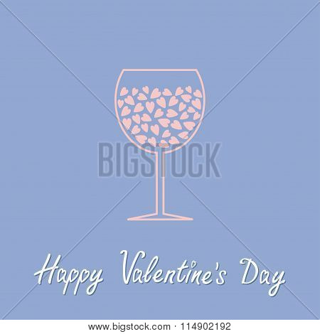 Wine Glass With Hearts Inside. Happy Valentines Day. Love Card In Flat Design Style. Rose Quartz Ser