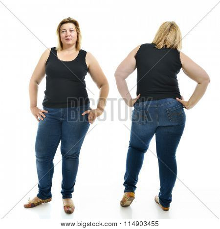 Overweight young woman wearing sportwear, full length portrait. Front and back view, over white background.