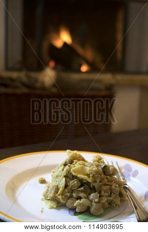 Pasta With Chickpeas In Front The Fireside