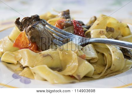 Pappardelle With Edible Boletus And Cherry Tomatoes