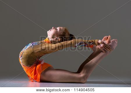 Dancer Girl Doing Backbend Athletic Exercise