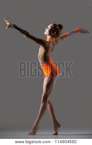 Smiling Gymnast Girl Dancing
