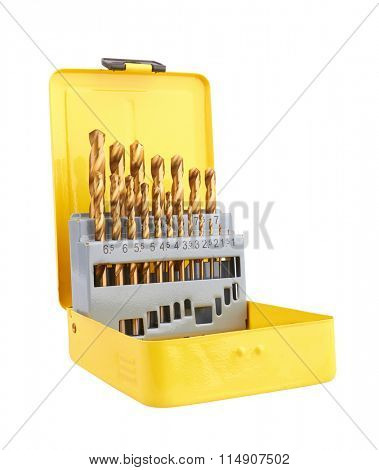 Drill bits of different sizes in box, isolated on white background