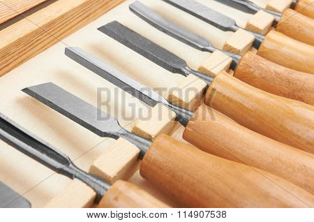 Set of Chisels in box, close up