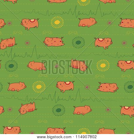Happy Pink Piggies With Green Background
