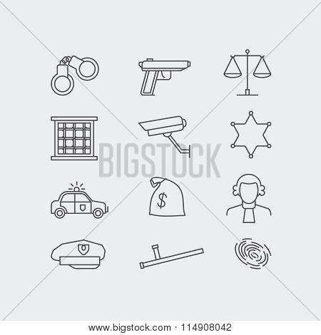 Crime and police line vector icons