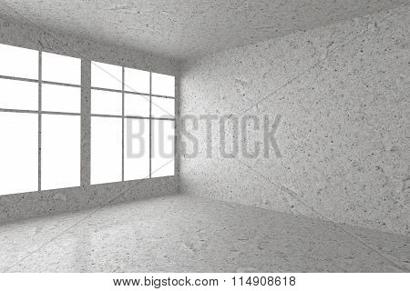 Empty Spotted Concrete Room Corner With Window Interior