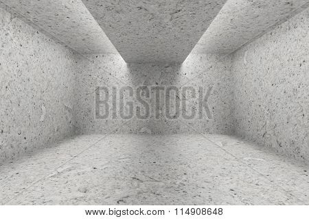 Empty Room With Spotted Concrete Walls And Opening In Ceiling  For Lighting