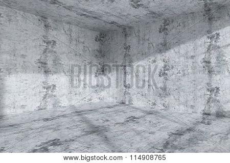 Empty Dark Concrete Room Corner Interior