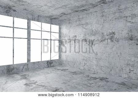 Empty Concrete Room Corner With Window Interior