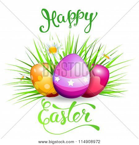Easter Greeting Card With Easter Rabbit, Easter Eggs And Original Handwritten Text Happy Easter