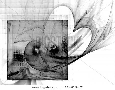 Abstract Fractal Square, Heart, Grill . Textured Images In Black And White .