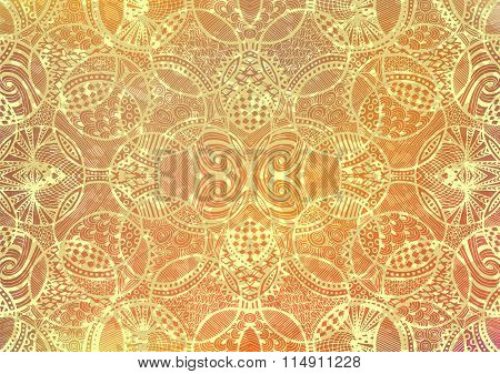 Zentangle Background Hand Drawn Retro Circles Gold