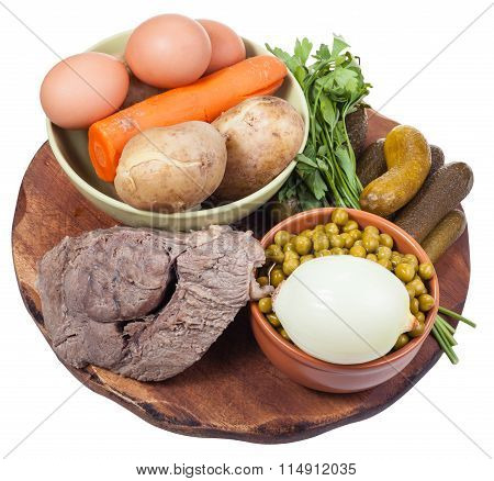 Boiled Ingredients For Russian Salad Cooking