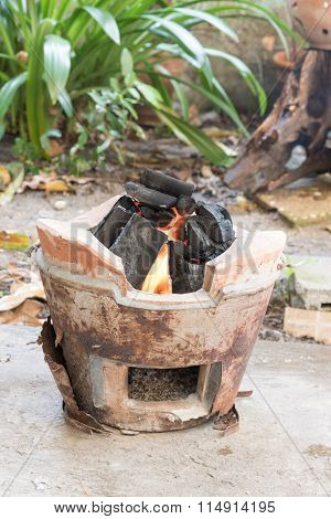 Traditional Charcoal Burning Clay Stove