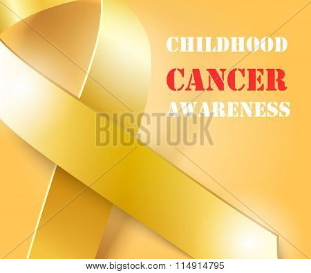 Childhood Cancer Awareness gold ribbon background