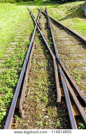 the crossing of normal and narrow gauge, Elk, Warmian-Masurian Voivodeship, Poland