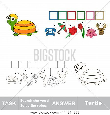 Search the word. Find hidden word Turtle