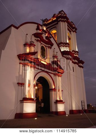 Church In Huanchaco Enlightened In The Evening