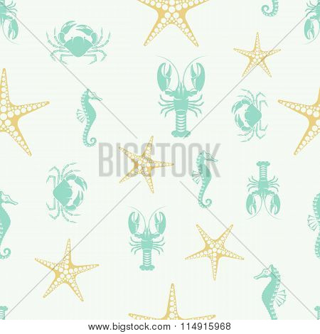 vector pattern seahorse lobster crab and starfish