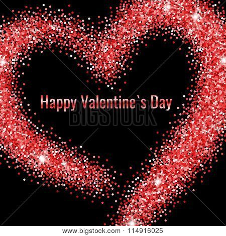 Happy Valentines Day Greeting Card with Red Glitter Dust Heart