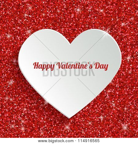 Happy Valentines Day Greeting Card with 3d White Paper Sticky in Heart Shape