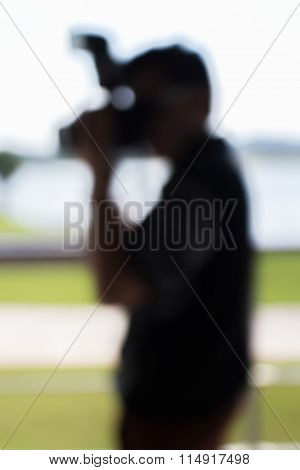 Blurred Photo Of Photographer On Duty In Press Conference Event, Business Concept.