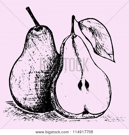 pear with leaf, half pear